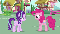 Starlight Glimmer looking confused at Pinkie Pie S6E25