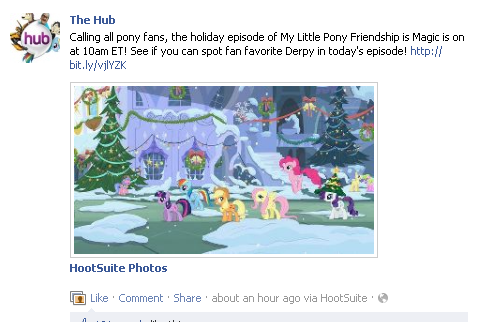The Hub Facebook Derpy mention