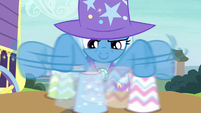 Trixie shuffling the paper cups S7E24