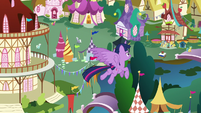 Twilight Sparkle flies back down to Ponyville S7E14