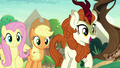 AJ, Fluttershy, and Autumn overjoyed S8E23.png