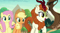 AJ, Fluttershy, and Autumn overjoyed S8E23