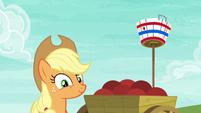 Applejack pleased with Pinkie Pie's shot S6E18