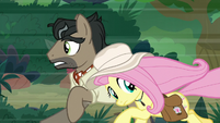 Caballeron and Fluttershy race through jungle S9E21