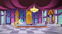 Celestia and Starlight in the castle dining hall S7E10