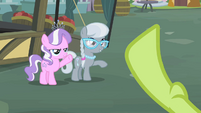 Diamond Tiara and Silver Spoon waving to Granny Smith S2E12