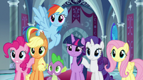 Mane Six and Spike smile with confidence S9E1