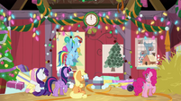 Mane Six looking at the wall clock BGES2