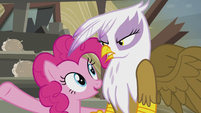 Pinkie -even the most grumpy griffon grin!- S5E8