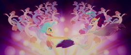 Princess Skystar and Queen Novo twirling around MLPTM