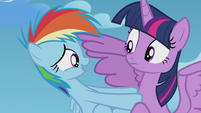 Rainbow Dash pushing away from Twilight S5E25