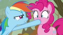 Rainbow closes Pinkie's mouth S5E5
