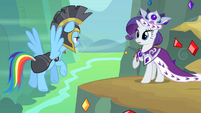 Rarity confronted by Commander Hurricane S2E11
