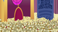 Sea of scrolls in Princess Celestia's throne room S6E15