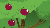 Sparkly red apple in an apple tree S6E18