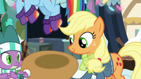 Applejack holding out her hat MLPBGE