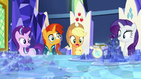 Applejack looks at image of Rockhoof's shovel S7E25