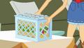 Applejack sets down bucket of cider bottles EG.png