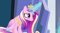 Cadance on the throne acknowledging Twilight S3E1