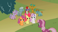 Cutie Mark Crusaders being laughed at by the class S2E1
