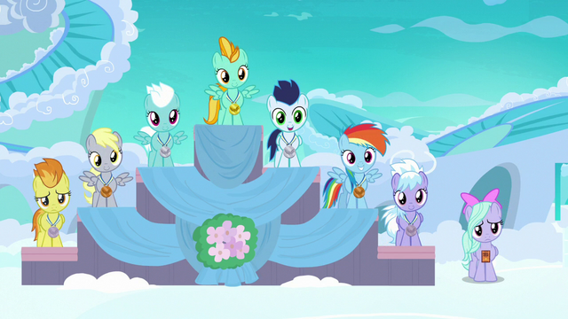 File:Filly Rainbow in third place at award ceremony S7E7.png