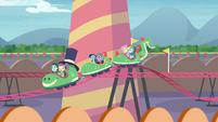 Fluttershy and Dash on a kiddie rollercoaster EGROF
