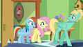 Fluttershy and Rainbow giving Zephyr encouragement S6E11.png
