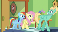 Fluttershy and Rainbow giving Zephyr encouragement S6E11
