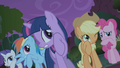 Friends cringe when Fluttershy approaches manticore S1E02.png