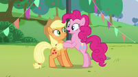 Pinkie's second --how--; Pinkie puts her hooves on Applejack S5E24