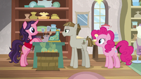 Pinkie Pie waiting in line behind Mudbriar S8E3