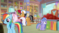 RD, Quibble, Sky, and Wind in museum gift shop S9E6