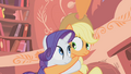Rarity and Applejack noticing the hug S01E08.png