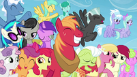 Several ponies smiling and happy S5E26
