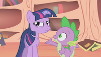 Spike thinking of nickname for Twilight S1E09
