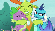 Thorax hugging Spike and Ember S7E15