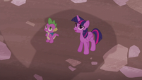Twilight and Spike in front of Sugarcube Corner S5E25