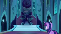 Twilight sees Nightmare Moon on her throne S5E26