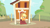 Applejack in chicken coop looking out S4E13