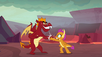 Garble and Smolder do a special handshake S9E9