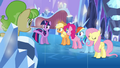 Main ponies and Peachbottom in the castle S03E12.png