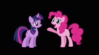 Pinkie Pie about to speak after acquiring her mouth back S3E05