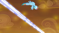 Rainbow Dash dodges blue magic blast S9E2