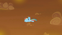 Rainbow Dash flying around the sky S9E2