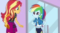 Rainbow Dash meets Sunset Shimmer at the mall EGDS2