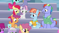 Scootaloo recounting Rarity Investigates! S7E7.png