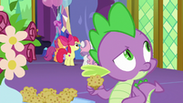 Spike hears the dining hall door close S7E1