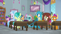 Students hearing Rockhoof enter S8E21
