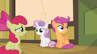 Sweetie Belle looking at Apple Bloom S4E17