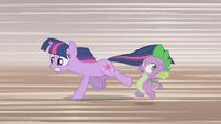 Twilight and Spike running away 3 S1E03